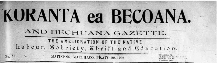 Screenshot of Koranta ea Becoana's masthead. Online digitized edition courtesy of Wits University's Historical Papers Research Archive.