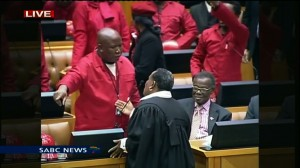 Parliament's Serjeant-at-Arms tries to reason with EFF leader Julius Malema.