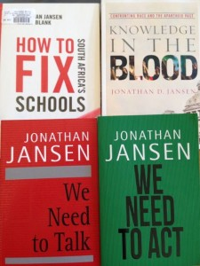 A collection of books by Professor Jonathan Jansen of UFS for this week's winners.