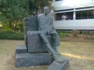 The C R Swart bronze is one of several images of apartheid heroes on the UFS campus.