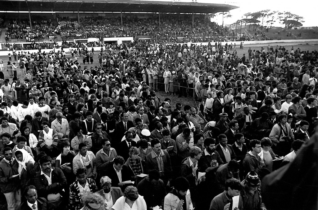 The Goodwood Stadium eucharist for the enthronement of Archbishop Desmond Tutu in September 1986.