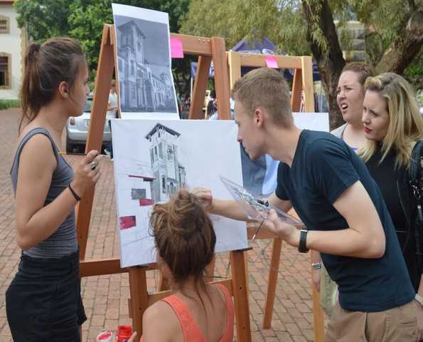 Not all the onlookers agreed with the efforts of the Central College artists.