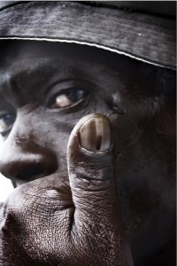 Freddie Israel, unemployed, Grahamstown, 28 April 2009. During the South African voting process, voters get a permanent mark on their thumbs.