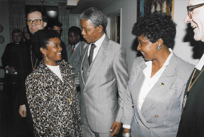 Sylvia Vollenhoven and Mandela Couple. Sweden 1990