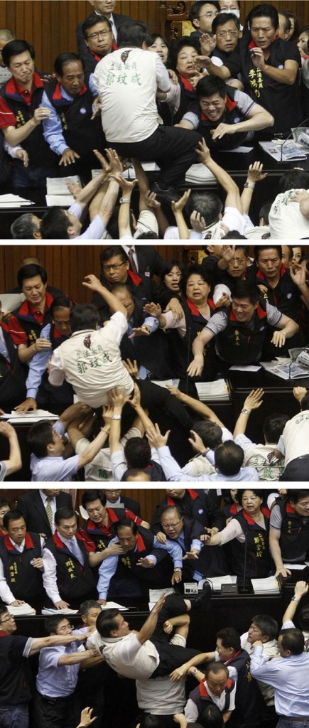 A combination photograph shows opposition DPP legislator Kuo falling off the podium in Taipei