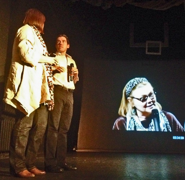 Book Wings Director Carol MacVey (on screen) as Moscow Art Theatre host Adam Muskin and Russian playwright Ksenia Dragunskaya respond from Moscow
