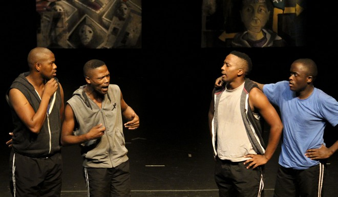 Cast members (from left to right) Luvuyo Yanta, Sisonke Yafele, Masixole Heshu and Tyson Ngubeni argue during The Amazing Other Show Image Courtery of Stuart Thembisile Lewis