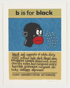 Anton Kannemeyer, B is for Black, From the series Alphabet of Democracy (2008), Lithographic print, 57 x 44.5 cm, University of the Free State Art Collection. Image courtesy of the artist and the Stevenson Gallery