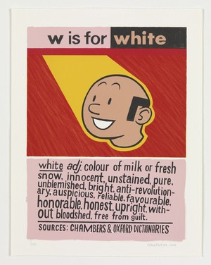 Anton Kannemeyer, W is for White, From the series Alphabet of Democracy (2008), Lithographic print, 57 x 44.5 cm, University of the Free State Art Collection. Image courtesy of the artist and the Stevenson Gallery