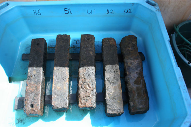 Iron ballasts recovered from the wreck of the São José. Used to offset the weight of the human cargo