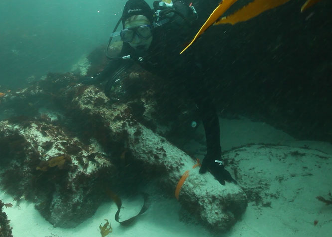 The São José wreck site under the waves off the Cape coast