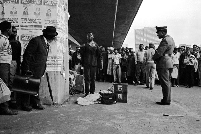 Street performance, Durban. 1981