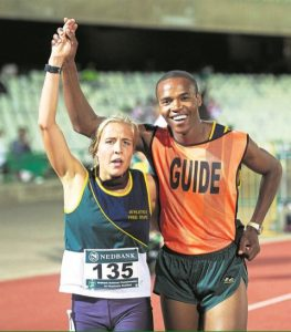 Louzanne Coetzee with guide, Khotatso