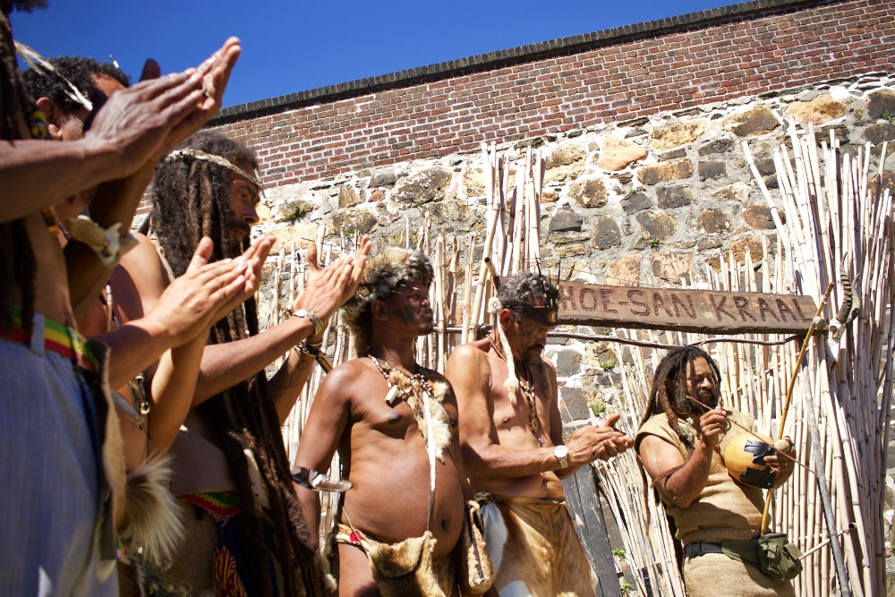 The activists perform a ritual at the Castle of Good Hope, Cape Town, Western Cape, South Africa, March 01, 2017.The ritual is meant to cleanse what the activists believe to be the negative spiritual influence of the castle on the country. Photo: Jane Berg.