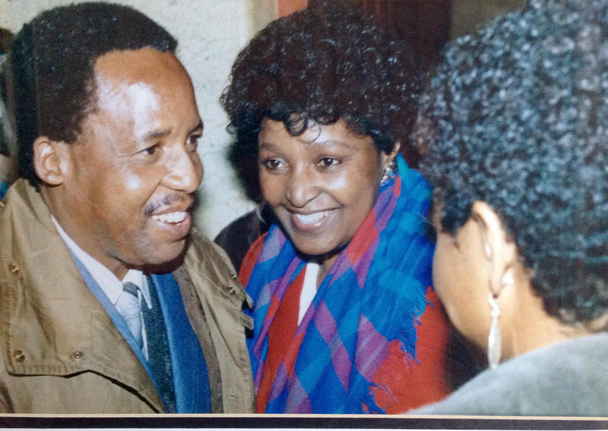 Chris Hani, Winnie Mandela and Sylvia Vollenhoven in Lusaka in 1989. Photo courtesy of Rashid Lombard.
